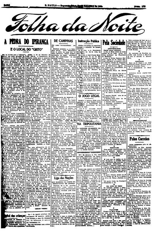 Primeira Página da Folha da Noite de 12 de setembro de 1921