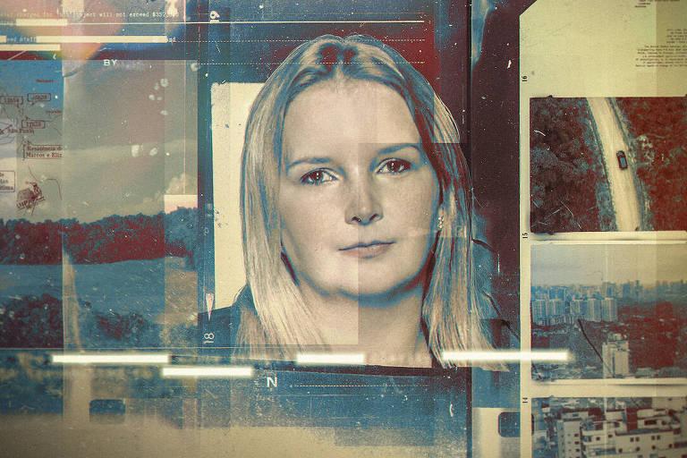 Várias fotos ao redor de foto de mulher loira