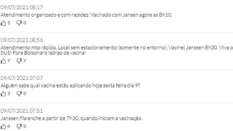 Imagem mostra interação na plataforma 'Onde Tem Vacina'