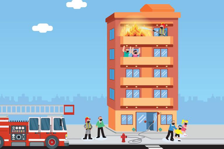Ilustração para a coluna Nos prédios sobre incêndio