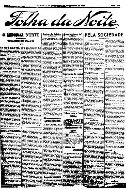 Primeira Página da Folha da Noite de 13 de setembro de 1921