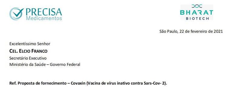 Diretora da Precisa Medicamentos envia ofício a coronel Élcio Franco e pede alteração na forma de pagamento pela vacina Covaxin