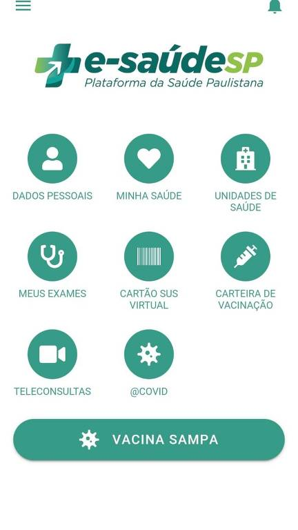 Tela do aplicativo e-saudeSP, com os serviços à disposição dos moradores de São Paulo