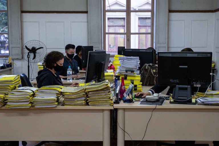 A Secretaria de Estado da Justiça e Cidadania de São Paulo retornou ao trabalho presencial nesta quarta-feira (14)