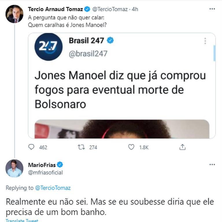 Post com comentário racista feito pelo secretário Mário Frias no Twitter