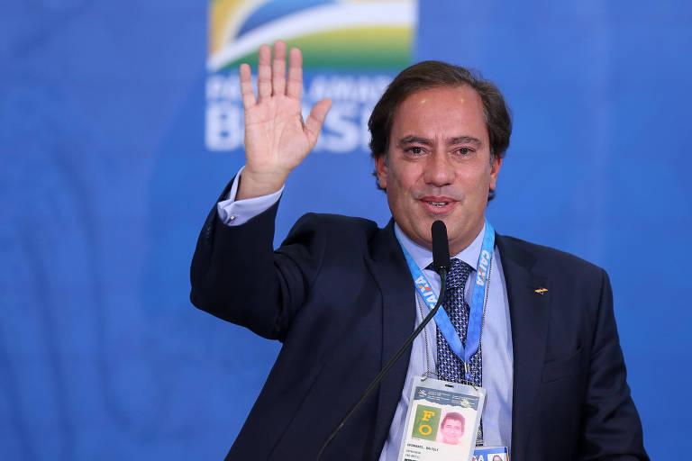 O presidente da Caixa Econômica Federal, Pedro Guimarães, em evento no Palácio do Planalto