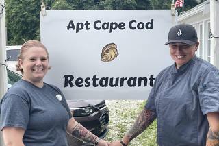 A photo provided by Brandi Felt Castellano of  Brandi Felt Castellano, left, and Regina Felt Castellano, owners of Apt Cape Cod, a farm-to-table restaurant on Cape Cod in Brewster, Mass. (Brandi Felt Castellano via The New York Times)