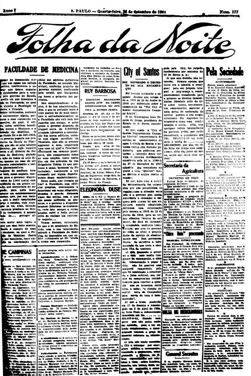 Primeira Página da Folha da Noite de 14 de setembro de 1921