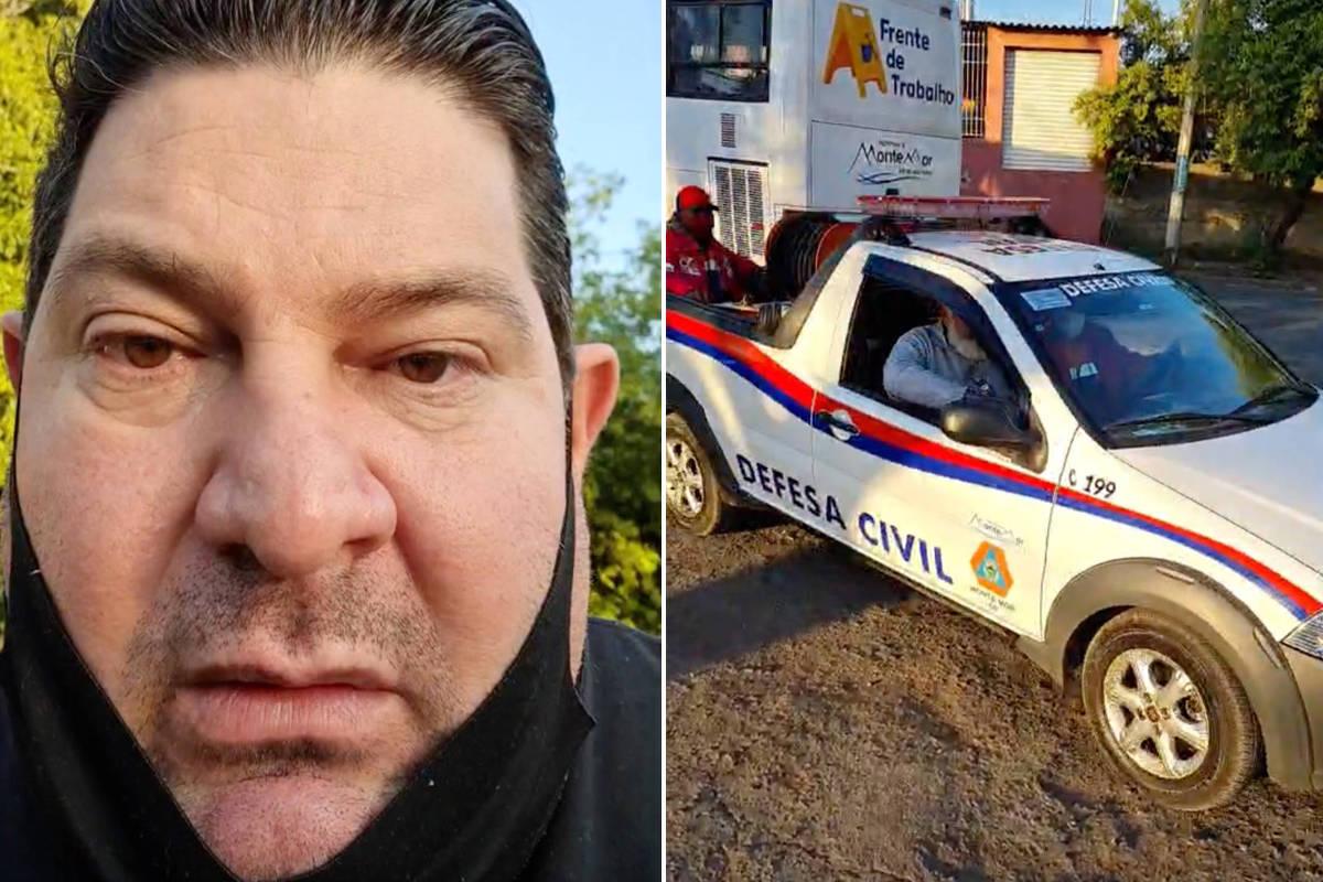rosto com máscara ao lado de foto de um veículo da Prefeitura de Monte Mor