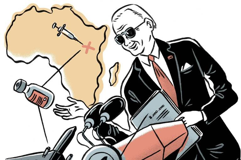 Ilustração mostra representante do G7 discursando, uma pessoa sendo vacinada e um avião carregando vacinas em direção ao mapa da África