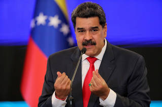 FILE PHOTO: Venezuelan President Nicolas Maduro holds a news conference in Caracas