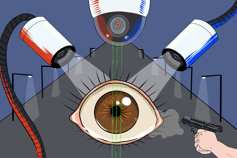 ilustração mostra no fundo rua à noite, com postes de luz. ao centro, olho arregalado. ao lado dele duas câmera e uma mão segurando arma, acima, outra câmera de vigilância.