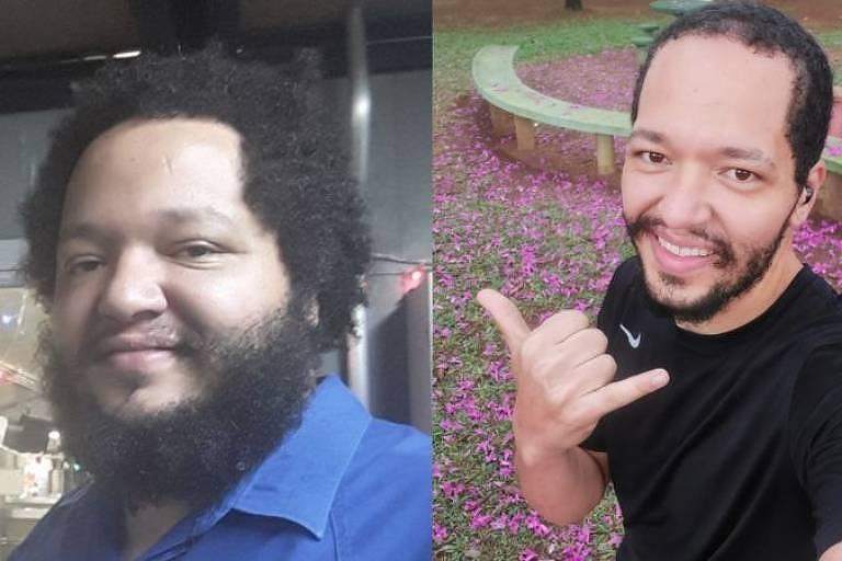 Duas fotos de homem negro sorrindo coladas lado a lado