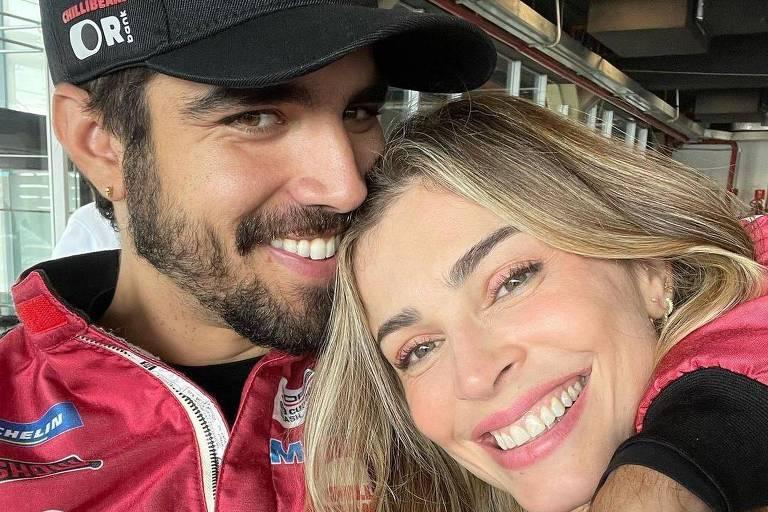 Grazi Massafera dá bandeirada de vitória a Caio Castro em Interlagos