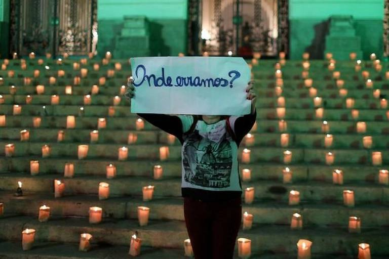 Em destaque, uma pessoa ergue um cartaz escrito: onde estamos? Ao fundo, há velas enfileiradas no chão