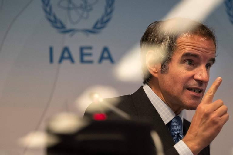 O diretor-geral da Agência Internacional de Energia Atômica, Rafael Grossi, fala na entidade em Viena