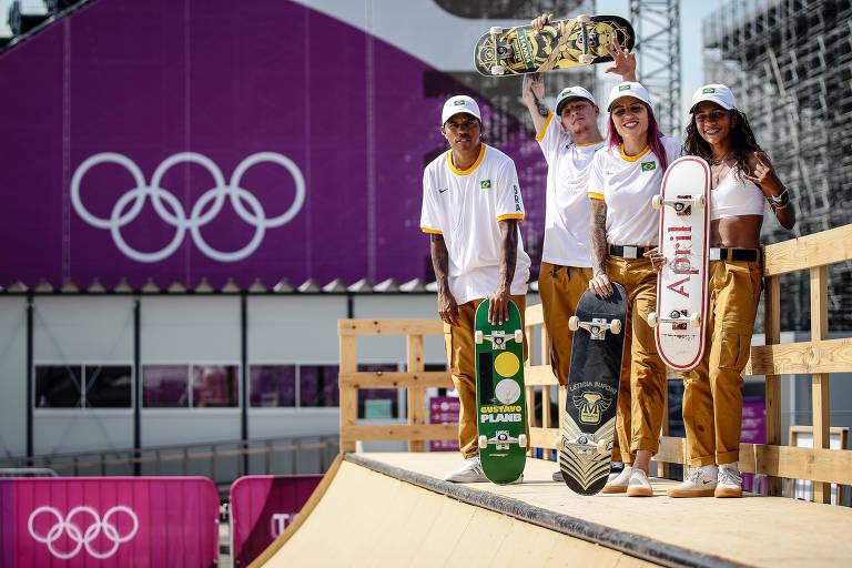 Equipe brasileira de skate treina em Tóquio