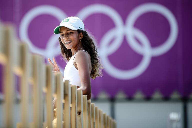 Skatista brasileira Rayssa Leal durante treino nos Jogos Olímpicos Tóquio 2020