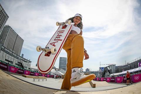 20.07.2021 - Jogos Olímpicos Tóquio 2020 - Tóquio - Ariake Urban Sports Park - Skate - Primeiro treino da equipe brasileira de Skate, na foto Rayssa Leal durante treino.