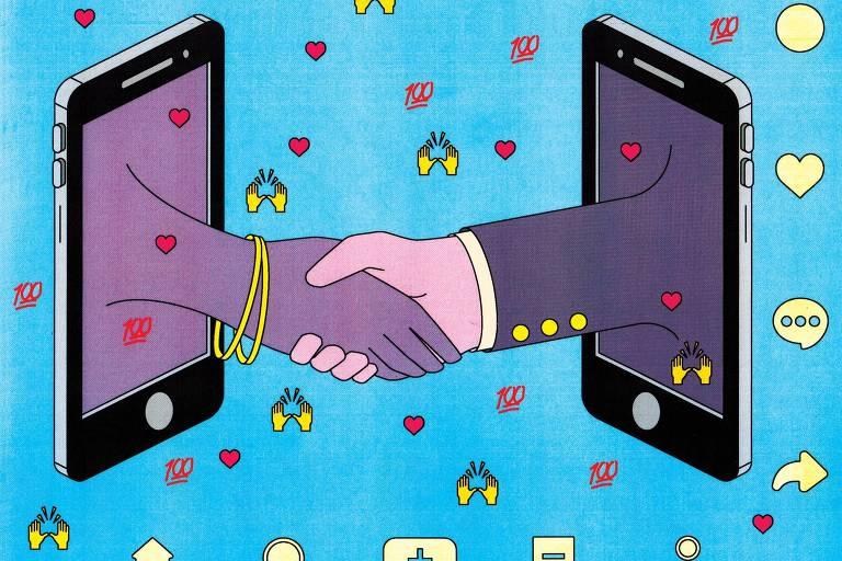 Ilustração de dois celulares frente a frente com uma mão saindo de cada um deles e apertando a outra, em expressão de negócio fechado