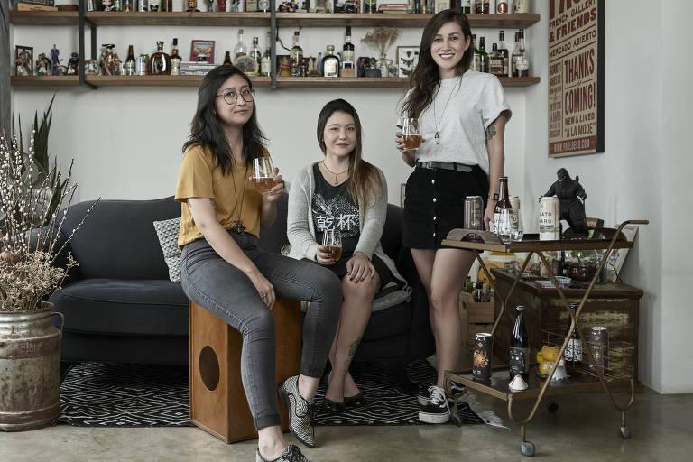 As cervejeiras Yumi Shimada, Maíra Kimura e Fernanda Ueno, da Japas Cervejaria