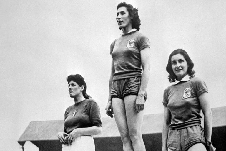 Campeã no arremesso de disco em 1948, a pianista francesa Micheline Ostermeyer (no topo) começou a praticar esporte quando morou na Tunísia; ela ainda foi ouro no arremesso de peso e bronze no salto em altura