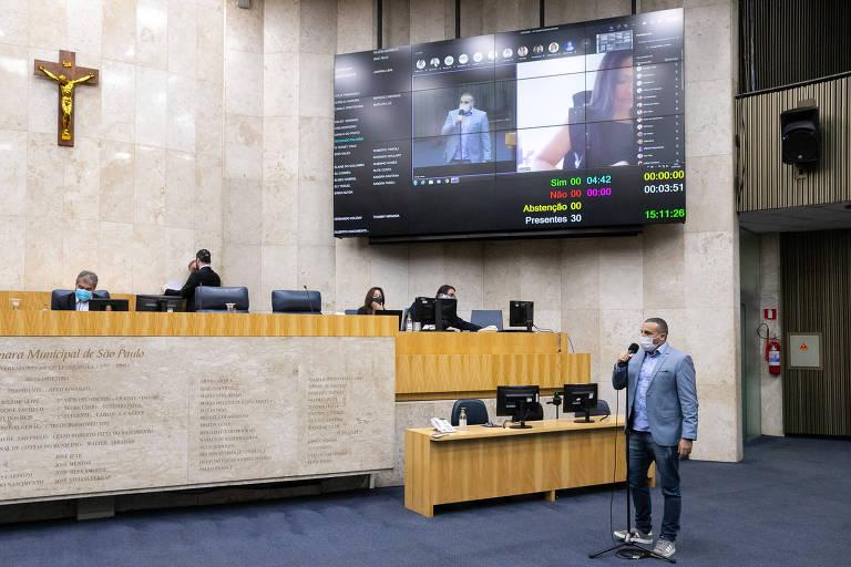 Vereador Delegado Palumbo, MDB, durante votação na Câmara Municipal de SP