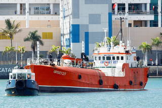 The fishing boat Odyssey 227 enters the port of Las Palmas