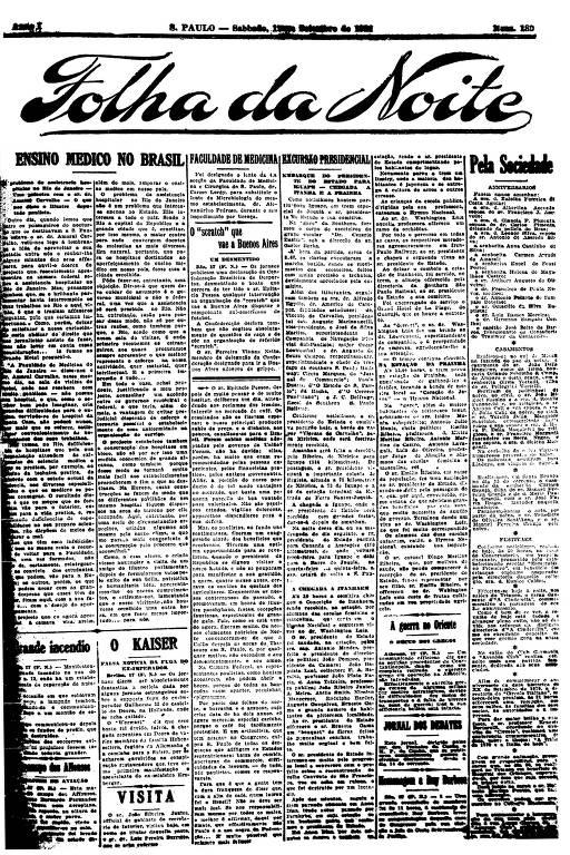 Primeira Página da Folha da Noite de 17 setembro de 1921