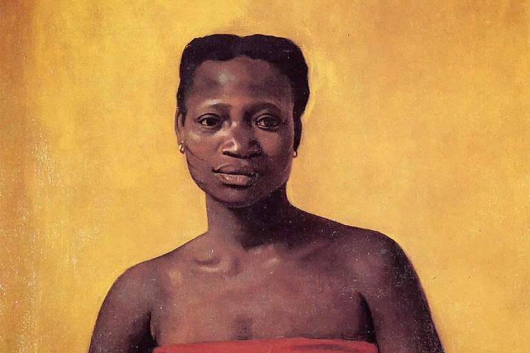 Imagem de reprodução mostra pintura de Tereza de Benguela. Ela é uma mulher negra, está séria e usa uma roupa vermelha.