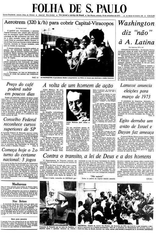 Primeira Página da Folha de 18 setembro de 1971