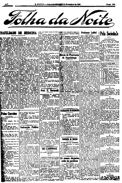 Primeira Página da Folha da Noite de 19 de setembro de 1921