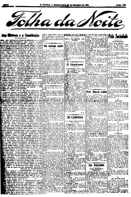 Primeira Página da Folha da Noite de 21 de setembro de 1921