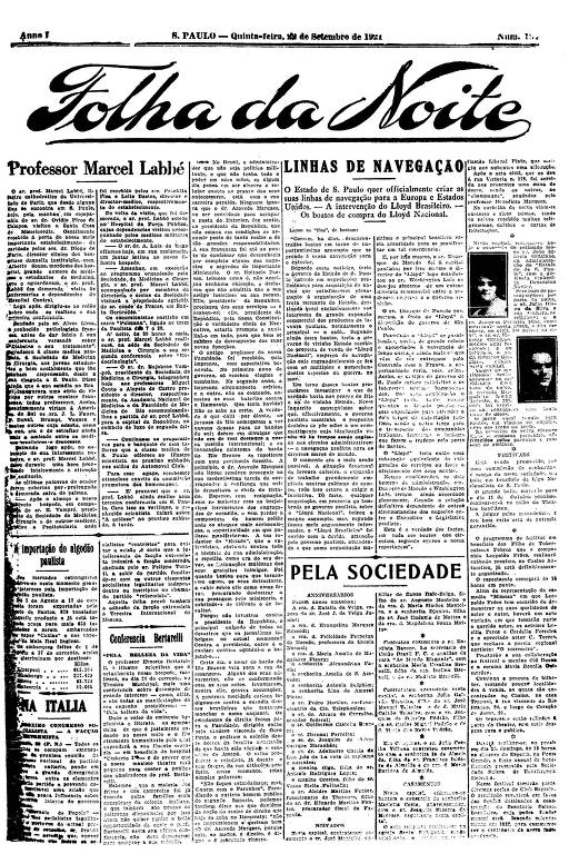 Primeira Página da Folha da Noite de 22 de setembro de 1921
