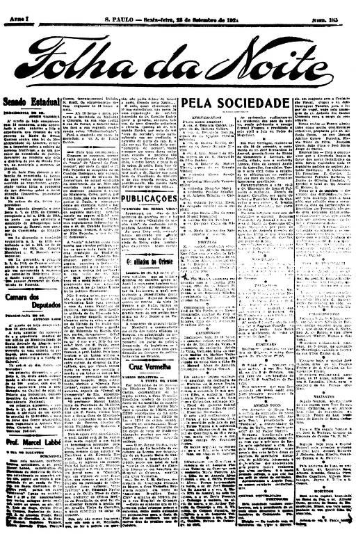 Primeira Página da Folha da Noite de 23 de setembro de 1921