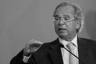 FILE PHOTO: Brazil's Economy Minister Paulo Guedes speaks during a ceremony to launch a program to expand access to credit at the Planalto Palace in Brasilia