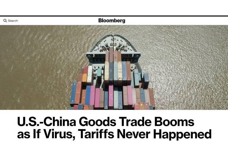 Comércio EUA-China 'aprende a viver com tarifas' e bate recorde