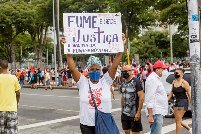 Núcleo de Evangélicas e Evangélicos em ato de 29 de maio contra o presidente Jair Bolsonaro