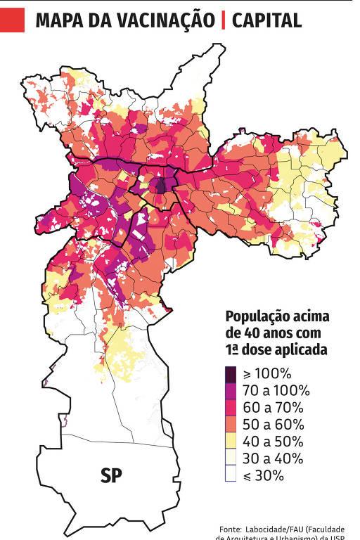 mapa da vacinação em SP