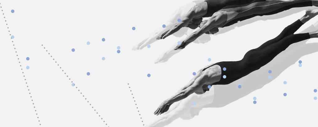 Colagem com nadadores
