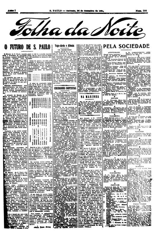 Primeira Página da Folha da Noite de 24 de setembro de 1921