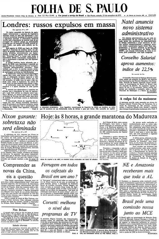 Primeira Página da Folha de 25 de setembro de 1971