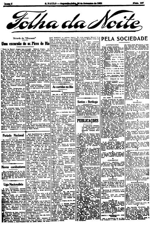 Primeira Página da Folha da Noite de 26 de setembro de 1921