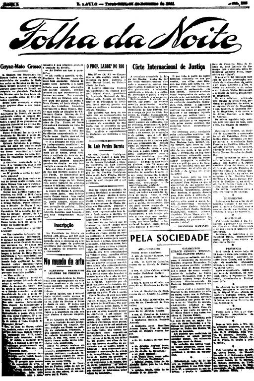 Primeira Página da Folha da Noite de 27 de setembro de 1921