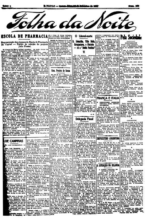 Primeira Página da Folha da Noite de 29 de setembro de 1921