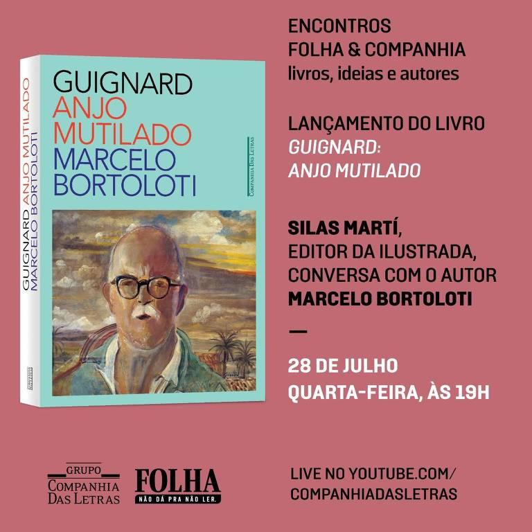 Banner rosa com a imagem da capa do livro e com a divulgação do evento, com data e horário