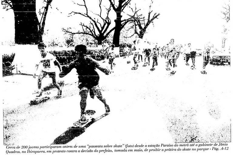 Imagem na capa da Folha de junho de 1988 sobre o protesto de skatistas em São Paulo em  contra a proibição de Jânio Quadros