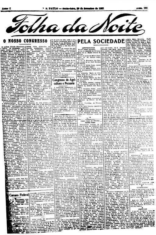 Primeira Página da Folha da Noite de 30 de setembro de 1921