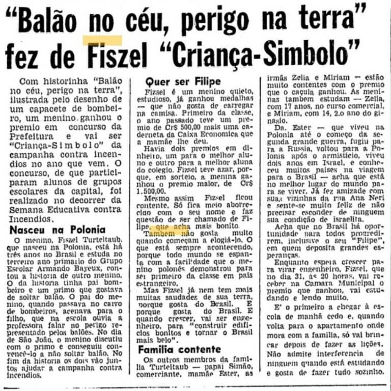 Fiszel Turteltaub (1951-2021) ganha perfil na Folha após vencer concurso de redação