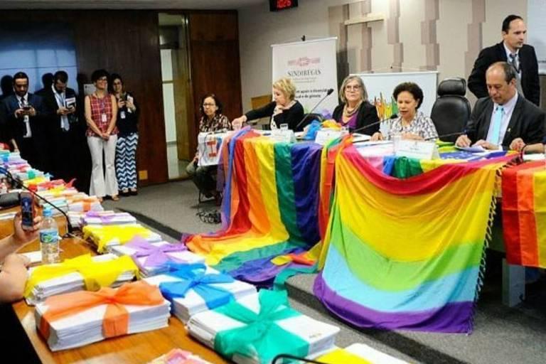 Assinaturas que propuseram a criação do Estatuto da Diversidade Sexual e de Gênero são levadas ao Senado, em 2018